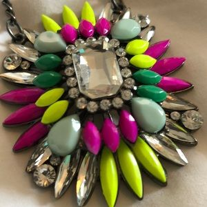 Cara neon statement necklace rhinestones gunmetal